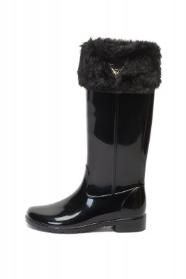 Cizme de ploaie cu garnituri de blana sintetica Guess, Fashion Days