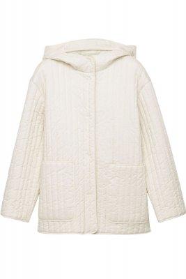 Jacheta alba matlasata cu gugla din bumbac COS