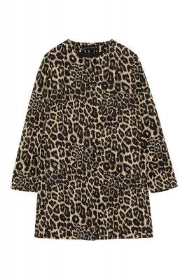 Palton cu animal print jacard Zara 399,99 Lei