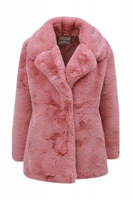 Pardesiu scurt roz prafuit din blana artificialaTally Weijl, zoot.ro