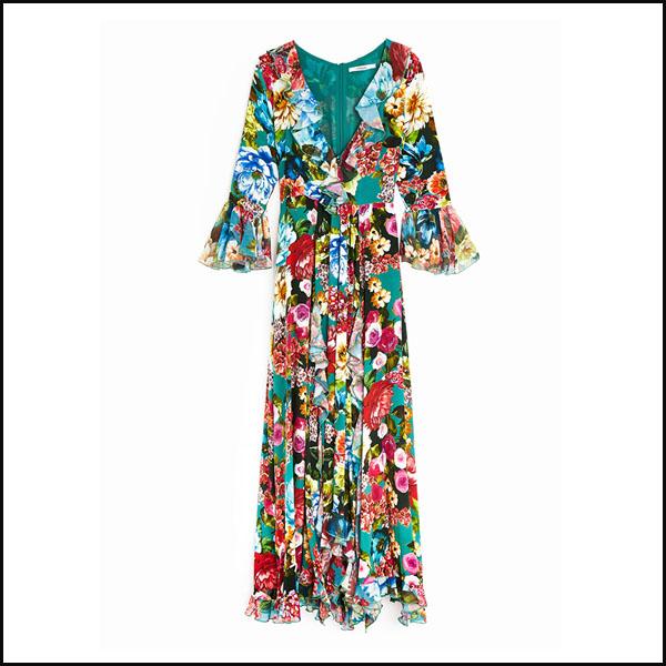 Rochie cu flori si volane Uterque