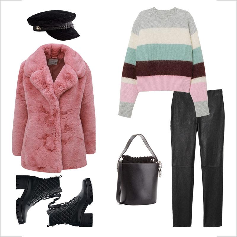 Tinuta cu haina de blana roz