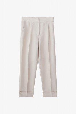 Massimo Dutti - Pantaloni slim fit din in cu pense 399,00 Lei